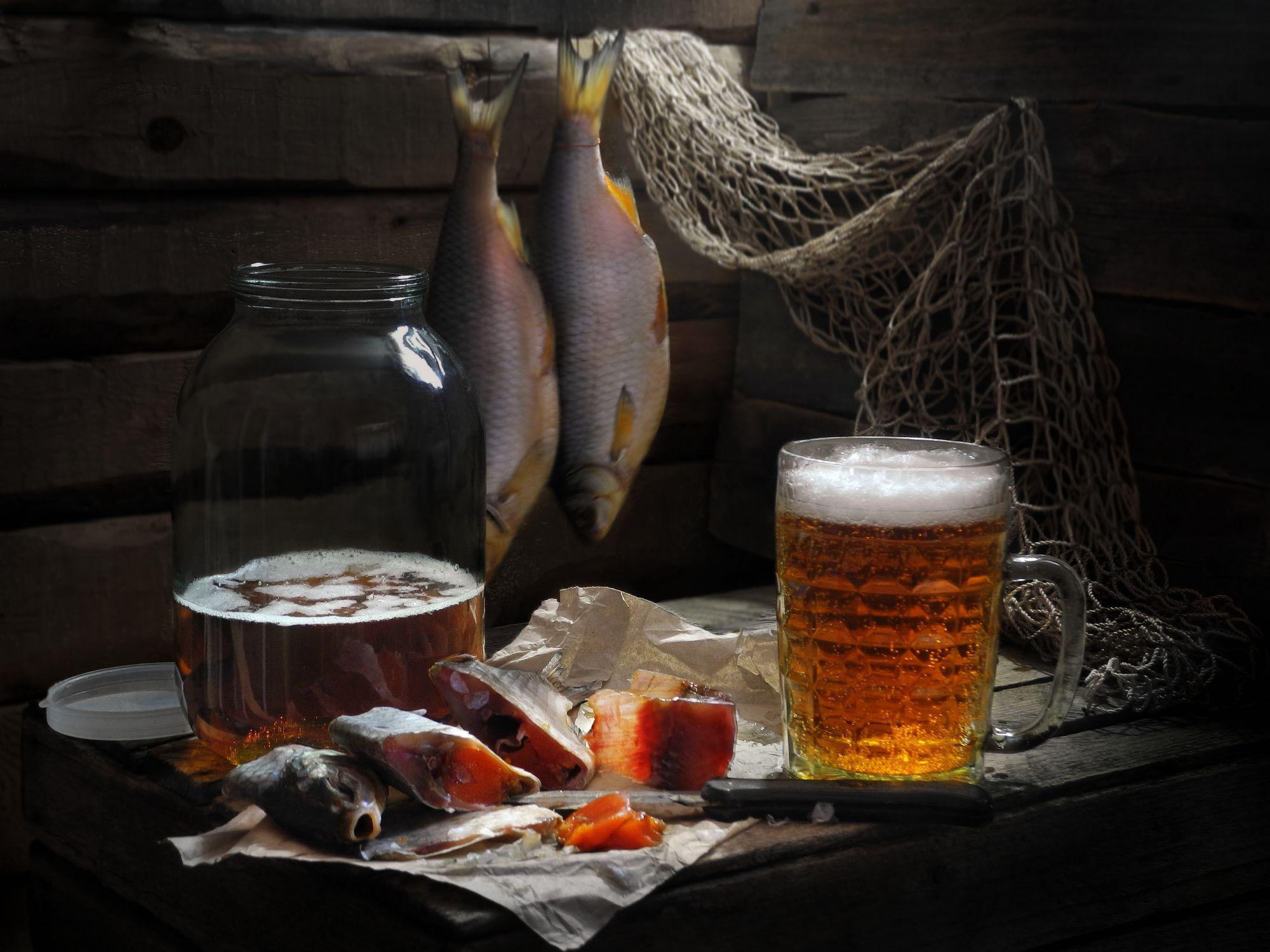 Открытка пиво с рыбой, своими
